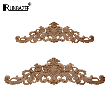 RUNBAZEF European Style Real Wood Long Floral Carving Applique Home Decoration Accessories Door Cabinet Furniture Figurines 1