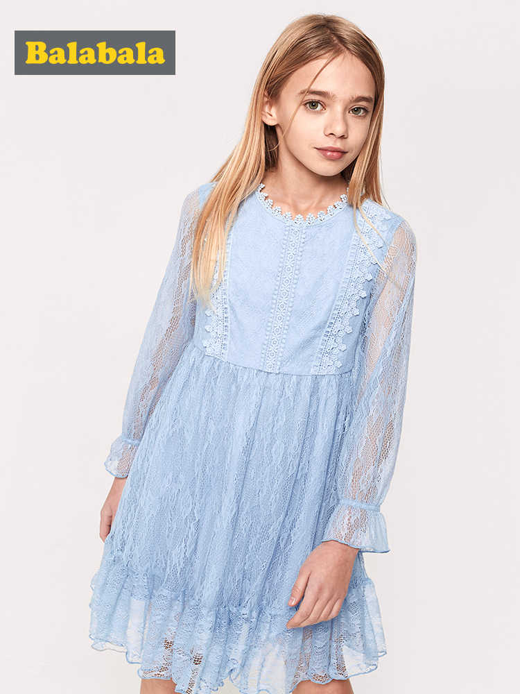 Balabala Meninas Rendas Macio Vestido Alargamento Da Luva Do Joelho-Comprimento Vestidos Crianças Adolescente Vestidos De Noiva Meninas Vestidos Primavera Outono