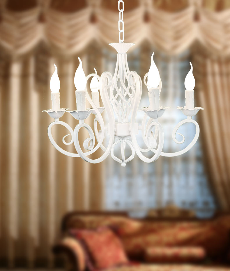 Free shipping Pendant Lights rustic white candle iron 3 5 6 white lamps foyer pendant light restaurant dining pendant lamp