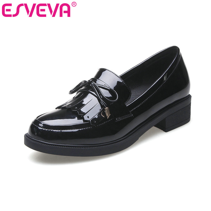 ESVEVA 2017 College Style Square Med Heel Women Pumps Vintage Slip on PU Leather Shoes Wedding Round Toe Women Pumps Size 34-40 british college style genuine leather sexy pointed toe pumps fashion tassel slip on red black beige square med with women shoes