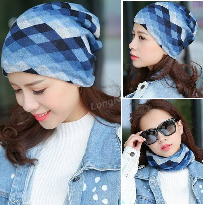 Long Keeper Fashion 2017 New Spring-Autumn Women's Hats Lattice Pattern   Beanies   Knitted Hat Ear Protector Cotton Warm   Skullies