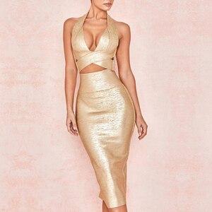 Image 4 - Seamyla 2020 ใหม่ Bodycon ผ้าพันแผลชุดผู้หญิงพิมพ์ Halter 2 ชิ้นชุดเซ็กซี่คลับ Celebrity Dresses Vestidos