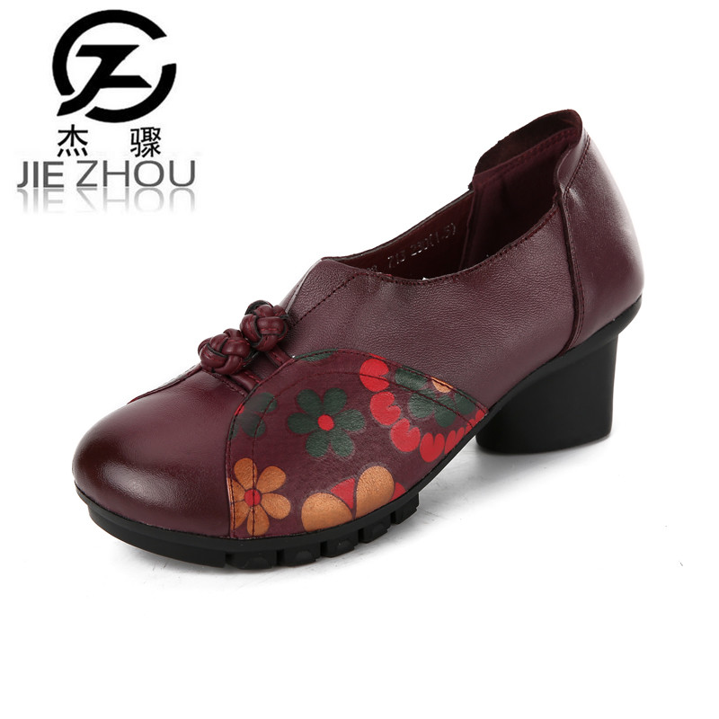 Spring Autumn National Style Crude heel high heels Genuine Leather Large size Women Shoes Anti-skid elderly shoes pumps obuv spring autumn national style crude heel high heels genuine leather large size women shoes anti skid elderly shoes pumps obuv