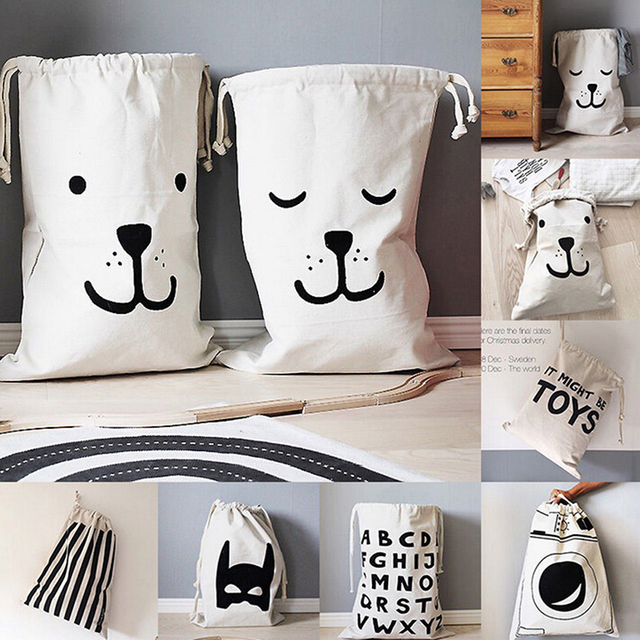 Baby Toys Storage Bags Canvas Bear Batman Laundry Hanging Drawstring Bag Household Pouch Bag Home Storage Organization