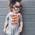 De algodón de Verano Con Volantes Pure Gris Ropa de Bebé Niña Conjunto de Manga Corta Niño Del Mameluco Del Bowknot accesorios de Fotografía