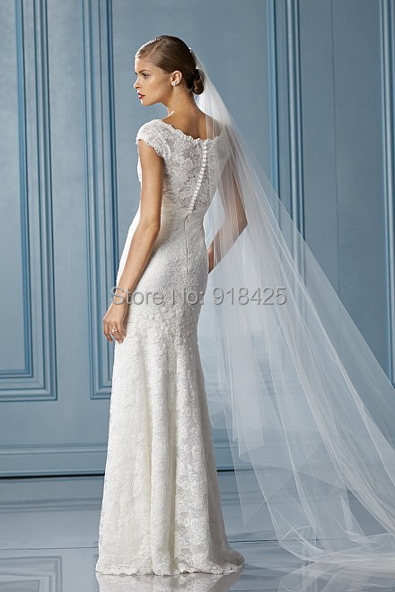Floor Length Lace Wedding Dresses No Train Scoop Cap Sleeves Custom Made Free Shipping Mg037 In From Weddings Events On Aliexpress