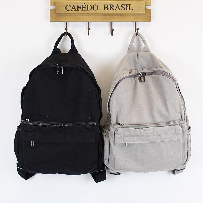 Korean Art Van Washing Water Canvas Shoulder Bag Men And Women Simple Leisure Backpack Sen High School College Students Bag
