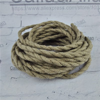 2x0.75 Vintage rope Wire Twisted Cable Retro Braided Electrical Wire DIY pendant lamp wire hemp rope vintage lamp cord
