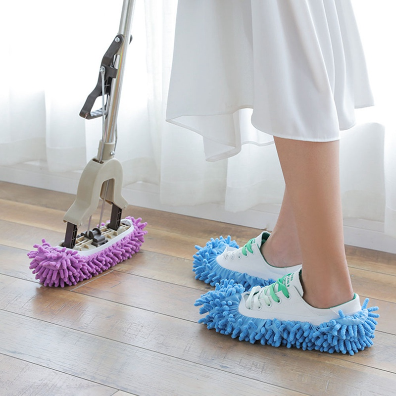 4 Pairs Microfiber Mop Shoes for House Kitchen Office