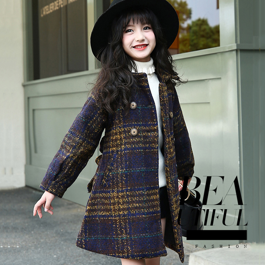 Winter Jackets For Girls Plaid Thick Woolen Coats For Girls Autumn Child Girls Jacket Teenage Girls Clothing For 6 8 10 12 Years girls winter jackets long woolen coats for kids girls casual autumn children s clothes teenage clothing for girls 6 8 12 years