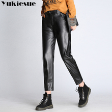 YUKIESUE High waist Winter Women Stretch PU Leather Pants Black Warm Trousers Ladies