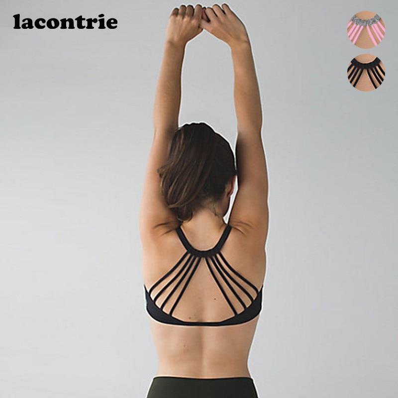 Prix pour 2017 Lacontrie Femmes Soutien-Gorge de Sport Sexy Yoga Shirts Fitness Compression Yoga Soutien-Gorge Shake preuve Gym Sport Soutien-Gorge Push Up de Course danse
