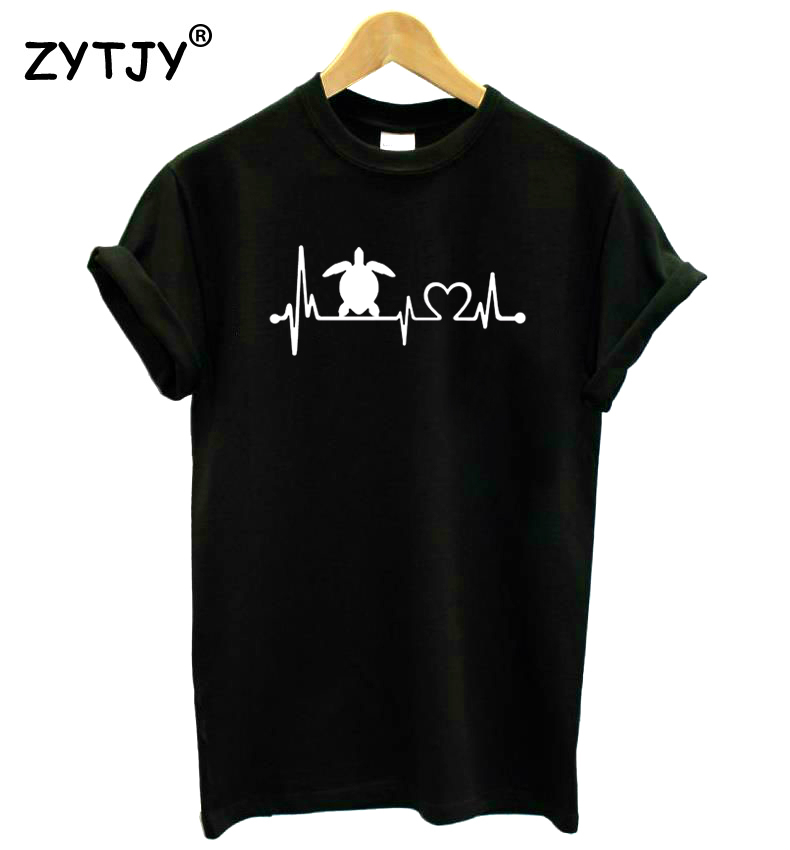 Camiseta Casual de algodón Hipster divertida camiseta de mujer con estampado de corazón de tortuga de mar para chica señora Top Drop Ship BA-307