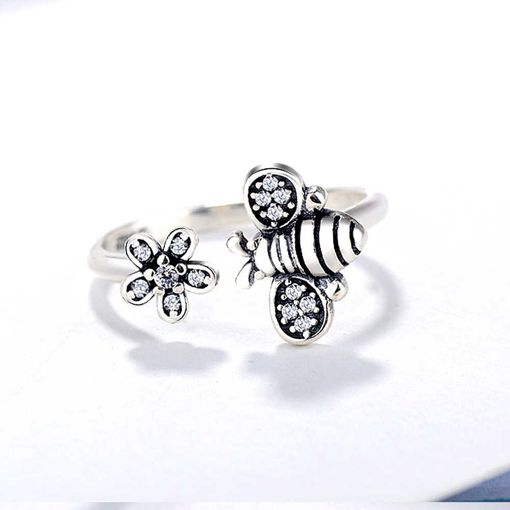 Cuteeco Kualitas Tinggi Warna Perak Lovely Bee Adjustable Cincin untuk Wanita Asli Pan Perhiasan Hadiah Pertunangan