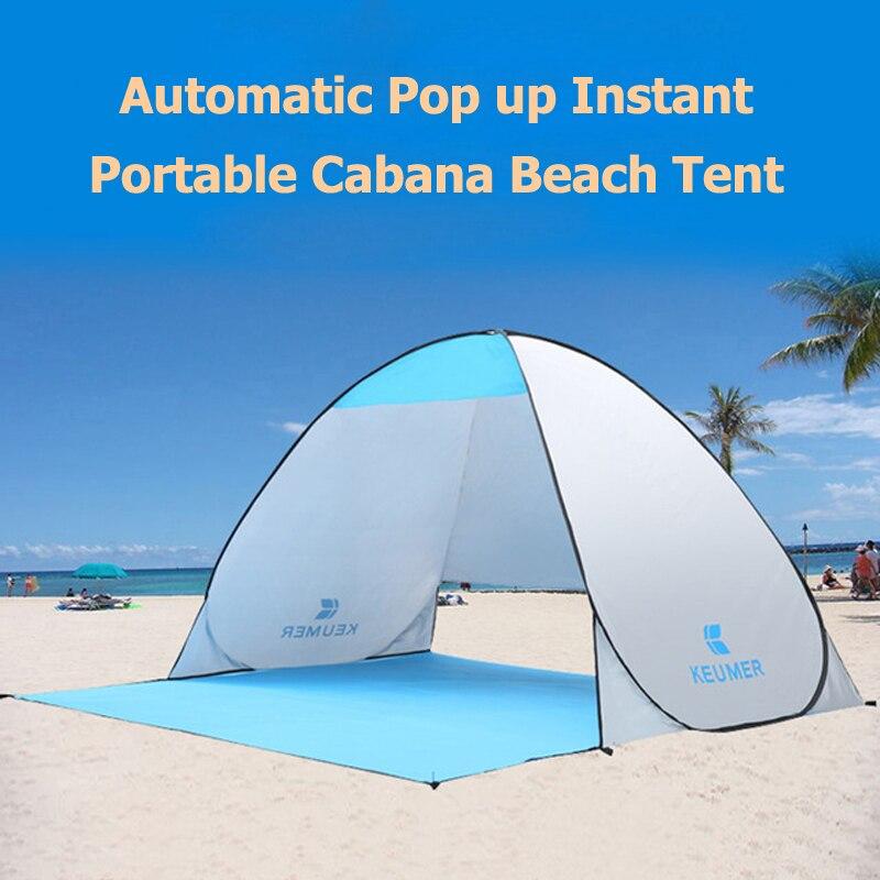 Tente portative instantanée automatique extérieure de plage de Cabana 2 personnes pêchant l'anti abri UV de parasol de plage s'installe en quelques secondes
