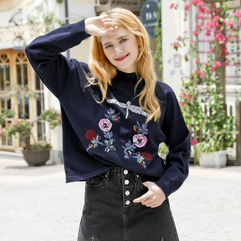 New Turtle Embroidery Sweater Pattern Floral Neck Pullover Women's 2018 dEnqBd
