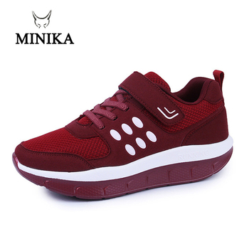 New Women Big Size Red Breathable Mesh Sneakers On The Platform Fitness Shoes Minika Schuhe Zapatos Deportivos Jump Shoes Fitnes