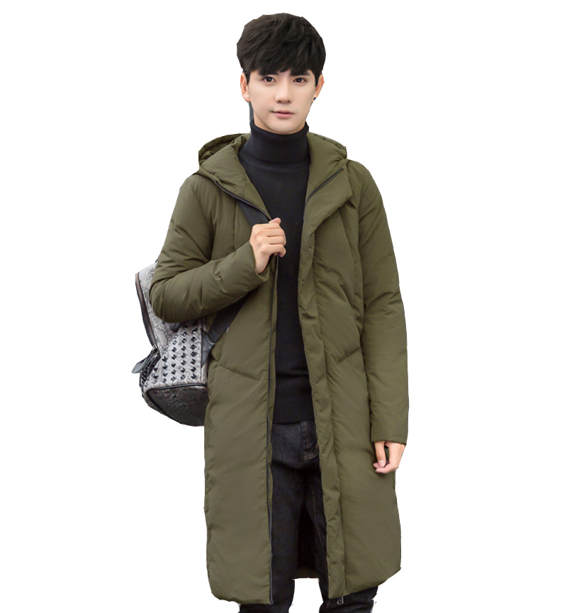 New arrival winter style mens boutique long cap down coat fashion casual zippers coat mens feather dress large size M-5XL