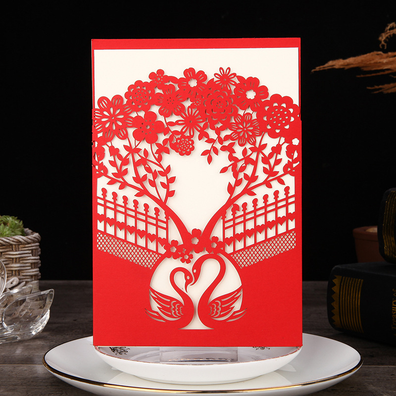 50pcs Marriage Wedding Invitations Cards Red Blue White Laser Cut Tree Invitation Card Wedding Card Paper Party Decoration
