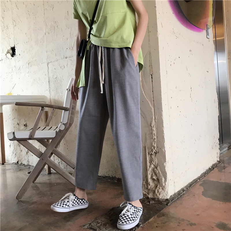 Casual Vintage Casual   Wide     Leg     Pants   Women's Buttom Korean Punk Harajuku Ulzzang Female Cute Vintage Kawaii Trousers For Women