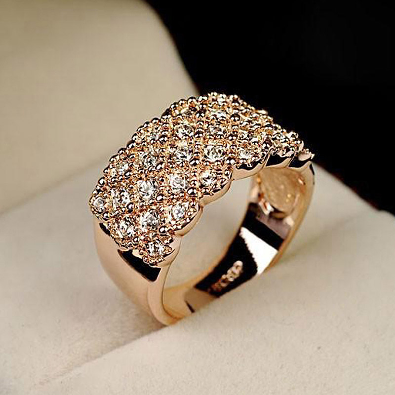 wedding Rings for women with  Rose Gold color Crystals engagement rings female