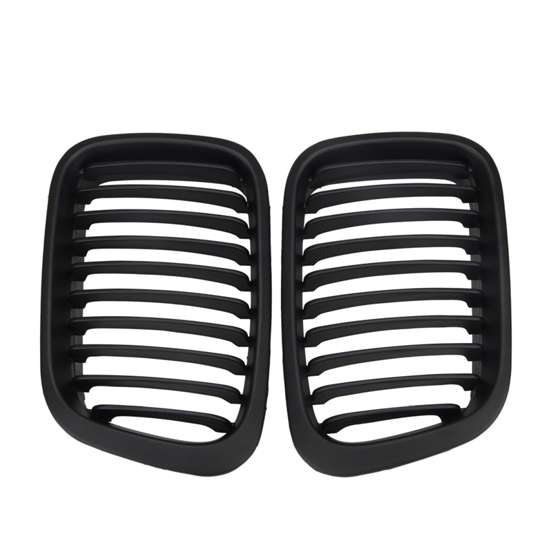 1 Pair Abs Front Replacement Matte Black Kidney Grille Grill For Bmw E46 3 Series Sedan 4 Door Sedan 1998-2001
