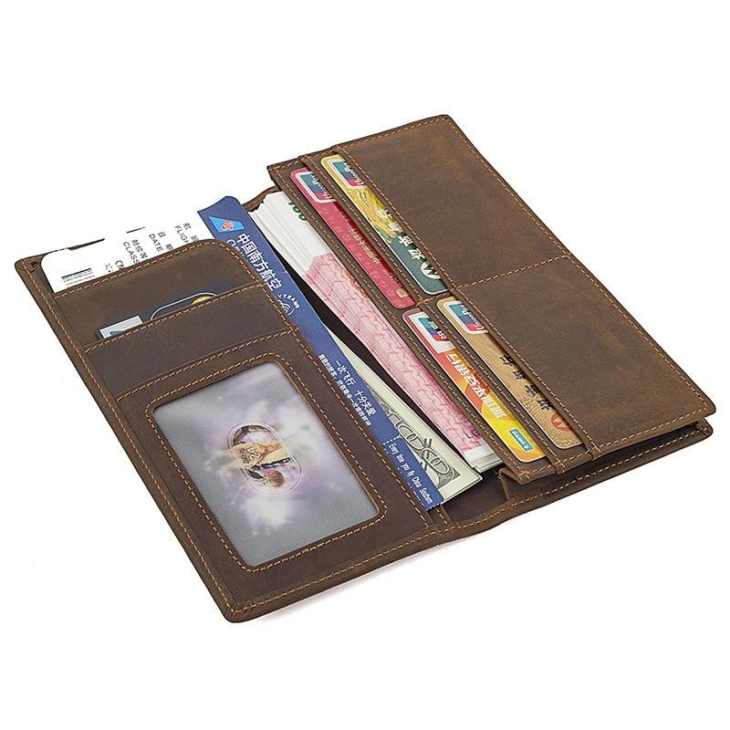 Crazy Horse Men Genuine Leather Card Holder Vintage Handmade Purse Male Long Standard Zipper Pockets Clutch Wallets
