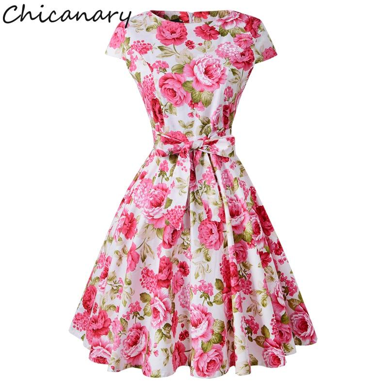 Chicanary Floral Vintage Cotton Dresses 1950s Rockabilly Cap Sleeve Audrey Hepburn Swing Dress Party Vestido Plus