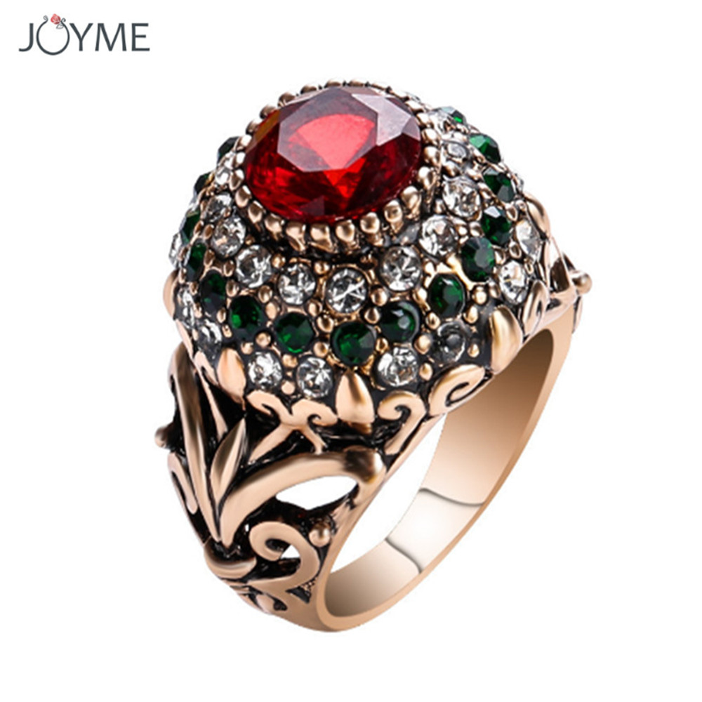 New Luxury Big Natural Stone Ring Vintage Crystal Antique Rings For Women Gold Color Party Christmas Gift Charm Turkish Jewelry