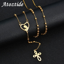 rosary necklace pearl jesus christ cross pendant necklace long chain men s and women s virgin mary christian fashion jewelry Atoztide Charm Stainless Steel Gold Cross Rosary Necklace Women Hollow Heart Virgin Mary Pendant Necklace Beads Sweater Chain
