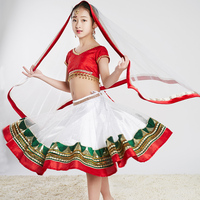 Children Indian Dance Clothes Bollywood Stage Performance Costume Oriental Dance Costume For Kid Indian Folk Dance Wear DQL931