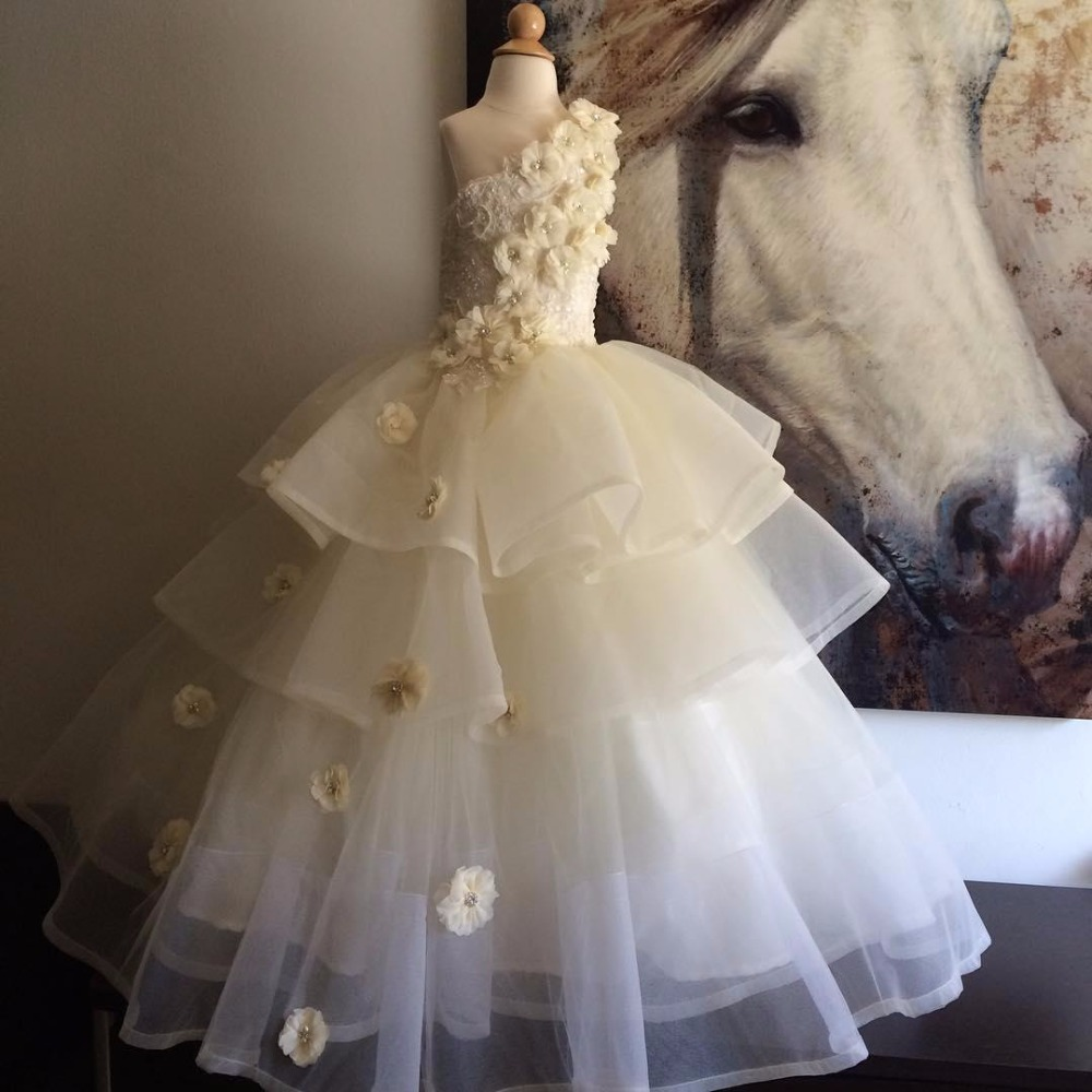 New princess white/ivory one shoulder lace flower girl dresses wedding birthday parties ball gowns