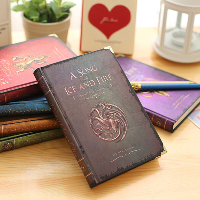 Vintage Hardcover Game of Thrones A5 Notebook for Gift Movie A Song of Ice and Fire Office School Supplies Student Diary game of thrones notebooks vintage hardcover notebook for gift movie a song of ice and fire a5 size nine designs day planner