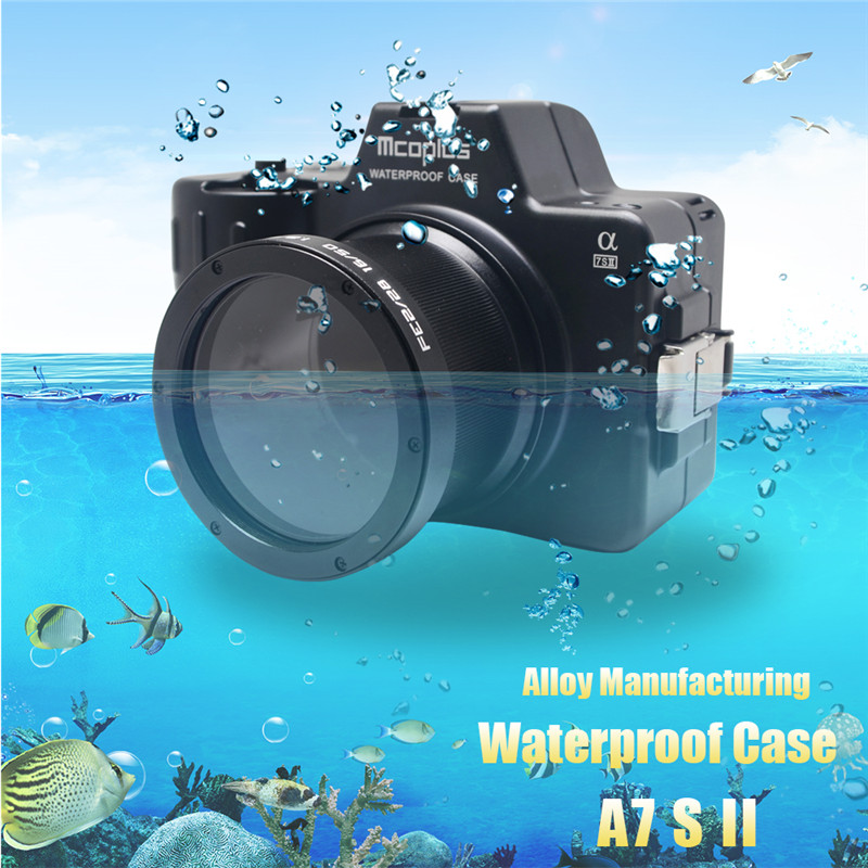 Mcoplus Waterproof Case for Sony A7SII A7S Mark II Camera 100M/325ft Alloy Manufacturing Underwater Camera Diving Housing Bag 40m 130ft waterproof underwater camera diving housing case aluminum handle for sony a7 a7r a7s 28 70mm lens camera