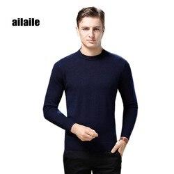 Aiaile 2018 invierno cálido suéter grueso de marca para hombre 100% puro suéter de cachemira cuello redondo de manga larga suave tejido Jersey formal