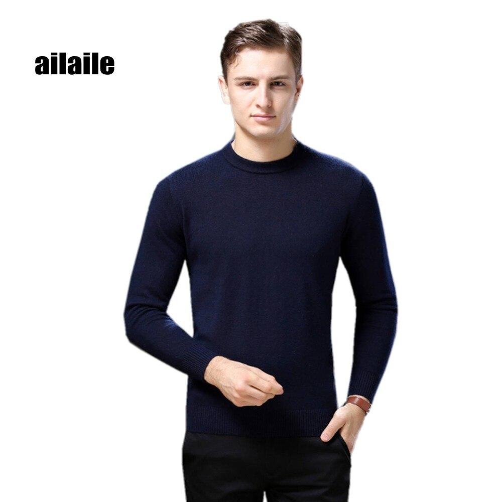 Ailaile 2018 зимние теплые толстый свитер брендовая мужская 100% чистый кашемировый свитер с круглым вырезом Длинные рукава Мягкие трикотажные Фо...