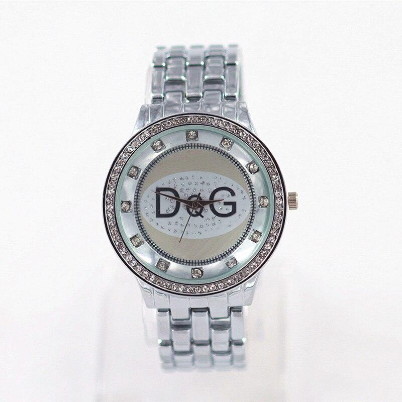 Zegarki Damskie2018Hot Sale DQG Luxury Brands Women Quartz Watch Silver Stainless Steel Crystal Unisex Sport Watch Reloj Mujer