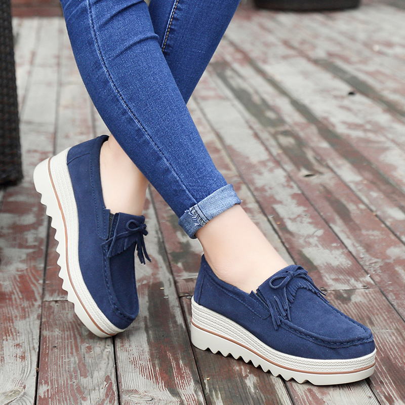 074507c19834 2018 new platform shoes for women slip on loafers suede cow leather  breathable comfortable fashion womens walking casual shoes