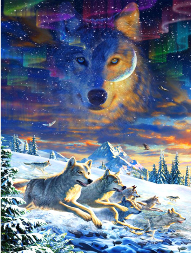 Pintura diamante Animal lobo Ponto Cruz diamante Bordado Needlework cenário Padrões Rodada Strass presente decor Home