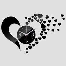 2016 new arrival lovely art diyclock wall clock Living Room Quartz Acrylic clocks mirror watch safe novelty home decoration kids