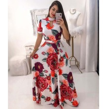 Summer Dress Women 2019 Floral Print Bohemian Short Sleeve O Neck Beach Boho