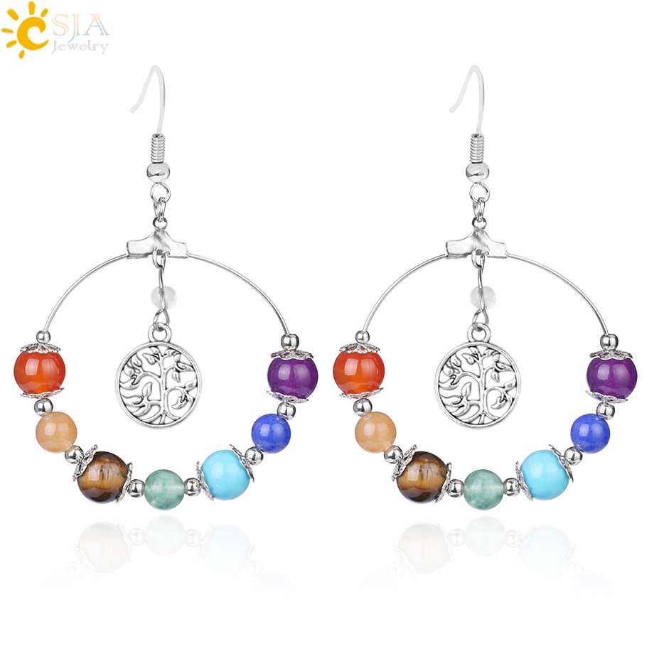 CSJA 7 Chakra Tree of Life Women Drop Earrings Natural Round Gem Stone Bead Reiki Healing Crystal Earrings Bohemian Jewelry E769