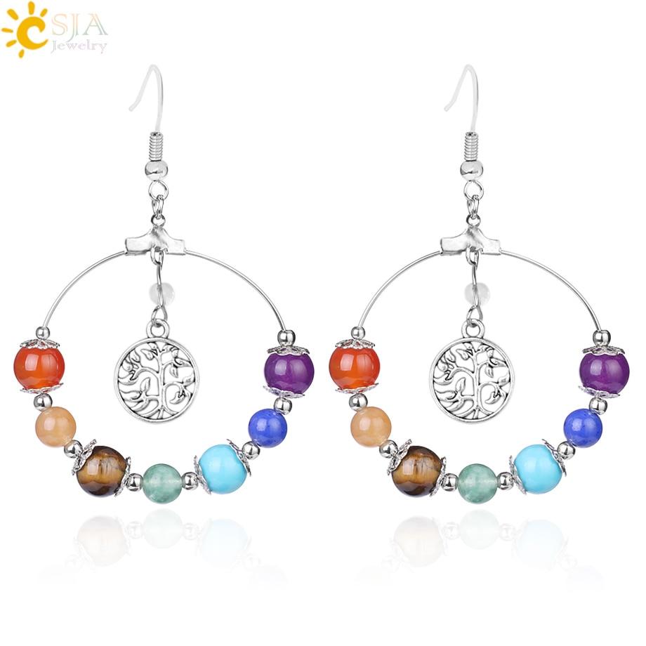 CSJA 7 Chakra Tree of Life Women Drop Earrings Natural Round Gem Stone Bead Reiki Healing Crystal Earrings Bohemian Jewelry E769