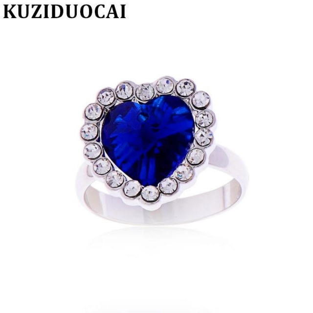 Kuziduocai New ! Fashion Fine Jewelry Royal Blue Rhinestones Size Adjustable Hea