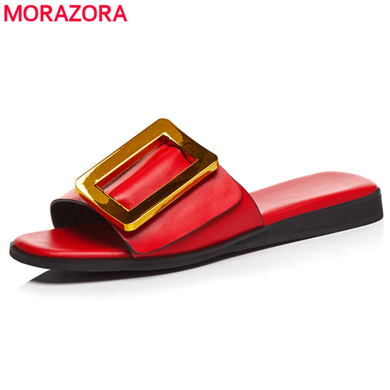 MORAZORA 2018 New genuine leather women sandals slip on with buckle summer casual ladies flat sandals fashion mules footwear цена