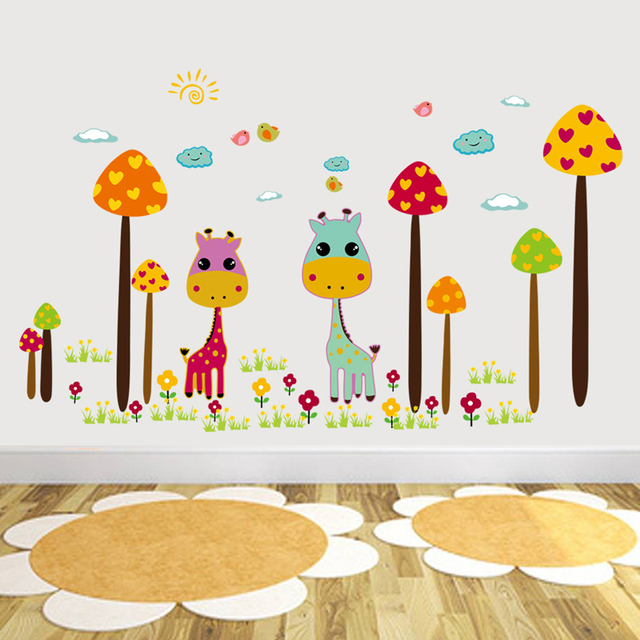Classroom Decoration Wallpaper ~ Cute cartoon mushroom forest wall stickers fawn children s