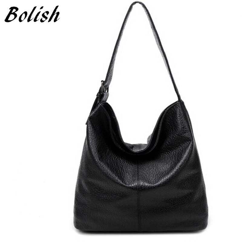 Bolish European and American Style PU Leather Top-handle Bag Fashion Larger Shoulder Bag Brief Capacity Women Bag  Shopping Bag teemzone top european and american fashion evening bag ladies genuine leather long style hasp note compartment wallet j25