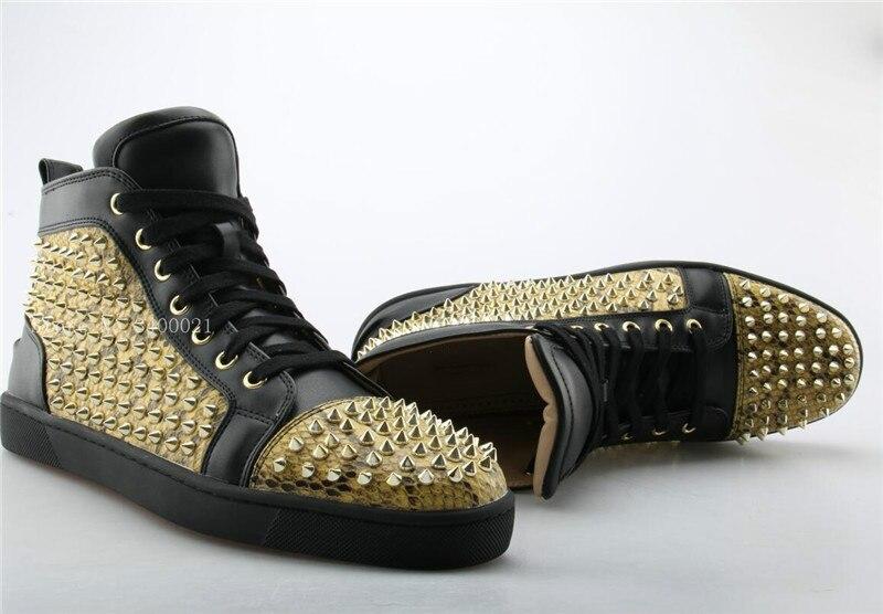 Moda Sales Hot Formadores Respiração Customized Up Studs Sapatos Patchwork Sapatilhas High Dos Ouro Zapatillas Rebites Flats Das 2018 Homens Casuais Lace Top dS4Eqwd