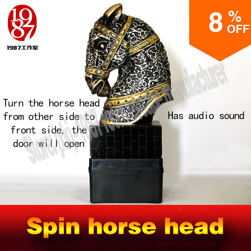 2016 new rotate prop room escape spin the decorative horse head to unlock interesting horsehead rotate to run escape room game