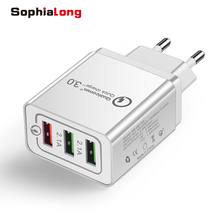 Universal 18W USB Quick charge 3.0 5V 3A for iPhone 8 7 X EU US Plug Mobile Phone Fast Charger Charging for Samsug S9 S10 Huawei 3 usb quick charge 3 0 5v 3a eu us for iphone 7 8 eu us plug mobile phone fast charger charging for samsug s8 s9 xiaomi note 7